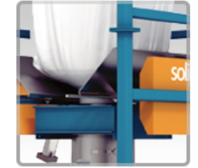 optional bulk bag unloader with agitation paddles.